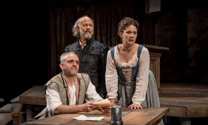 (L–R) The King's Men Henry Condell (Gregory Linington) and John Heminges (Jim Ortlieb), as well as Alice Heminges (Dana Black), in the alehouse. (Northlight Theatre)