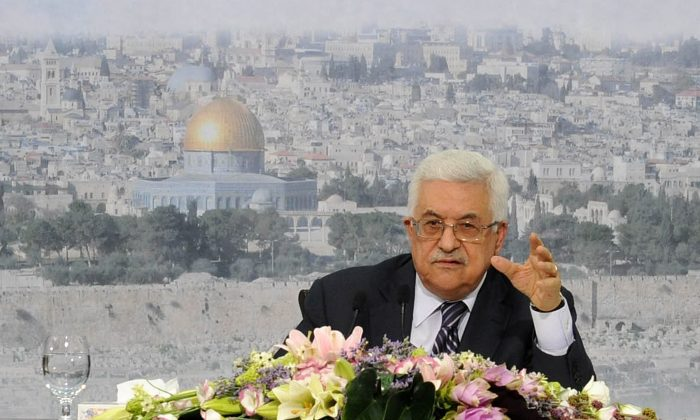Palestinian leader Mahmoud Abbas gives a speech in Ramallah on Sep. 16, 2011. (Thaer Ganaim /PPO via Getty Images)