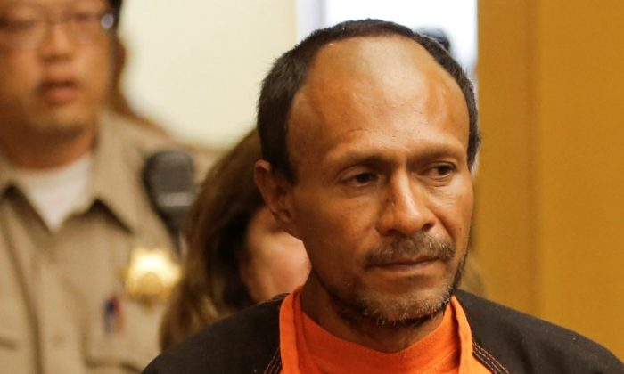 Jose Inez Garcia Zarate, arrested in connection with the July 1, 2015, shooting of Kate Steinle on a pier in San Francisco is led into the Hall of Justice for his arraignment in San Francisco, Calif., on July 7, 2015. (Michael Macor/Reuters)