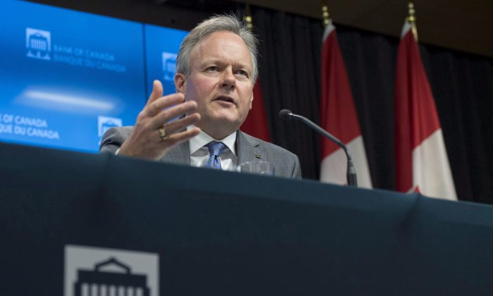 Governor of theBankofCanadaStephen Poloz speaks to reporters following the release of the Financial System Review (FSR) in Ottawa on Nov. 28, 2017. The Bank of Canada left interest rates unchanged on Dec. 6. (The Canadian Press/Justin Tang)