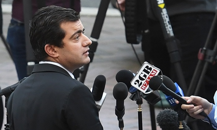 Australian Labor Party's Senator Sam Dastyari speaks to the media in Sydney on Sept. 6, 2016, to make a public apology after asking a company with links to the Chinese Government to pay a $1,273 bill incurred by his office. (William West/AFP/Getty Images)