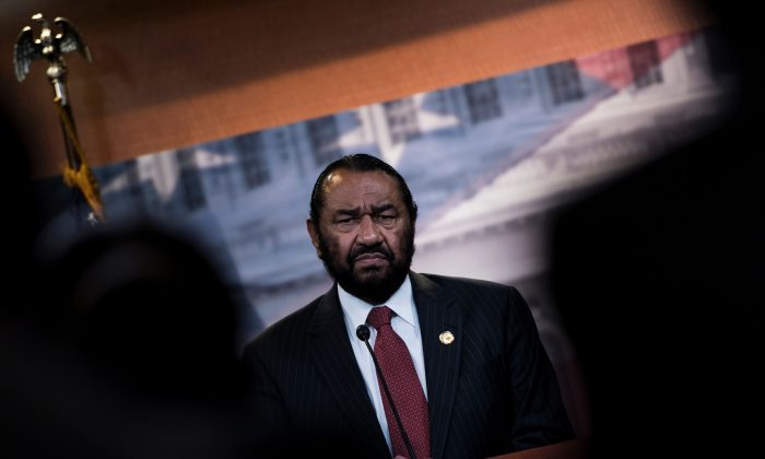 Representative Al Green (D-Texas) speaks about articles of impeachment during a press conference on Capitol Hill on June 7, 2017. (Brendan Smialowski/AFP/Getty Images)