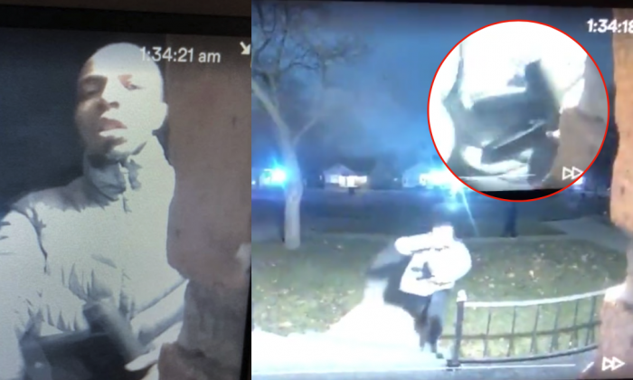 On Monday, Dec. 5, police arrested a man who walked up to a door at a Detroit home on Friday, Dec. 1 carrying a large caliber gun. (Screenshot from LiveLeak / compositing by Tom Ozimek)
