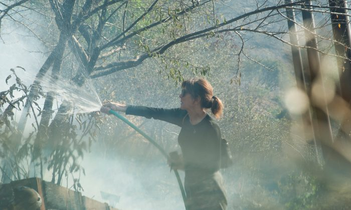 Elizabeth Rawjee sprays water from a garden hose onto hotspots left by the Skirball fire in her backyard on the west side of Los Angeles, California, U.S., December 6, 2017.      (Reuters/Andrew Cullen)