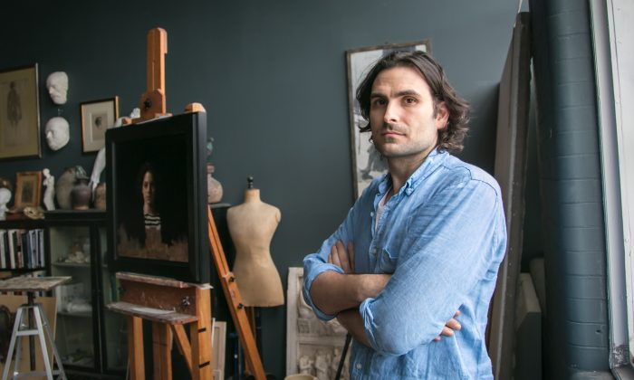 Jordan Sokol, painter and academic director of The Florence Academy of Art, U.S. Branch, in his studio in Jersey City, New Jersey, on Oct. 26, 2017. (Milene Fernandez/The Epoch Times)