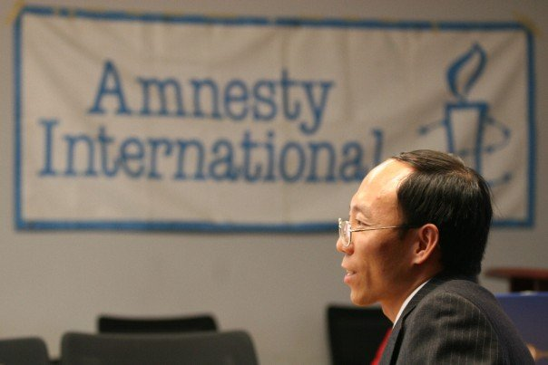 He Lizhi, a former Amnesty International prisoner of conscience, speaks of his experience being imprisoned and tortured in China, in this file photo. (Faluninfo.net)