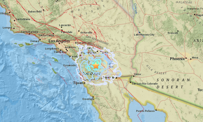 A 4.0 earthquake was reported near San Diego, Calif., according to the U.S. Geological Survey. The star represents the earthquake's epicenter. (USGS)