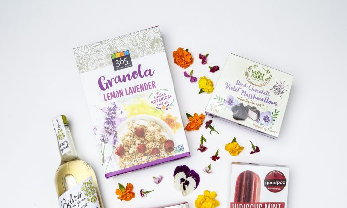 Flowers like lavender, hibiscus, violet, and elderflower are lending their flavors and fragrances to drinks and sweets. (Courtesy of Whole Foods)