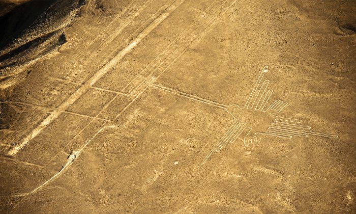 Aerial view of the Hummingbird, one of the most well-preserved figures (300 feet long) at Nazca Lines, some 435 km south of Lima, Peru on Dec. 11, 2014. (Martin Bernetti/AFP/Getty Images)