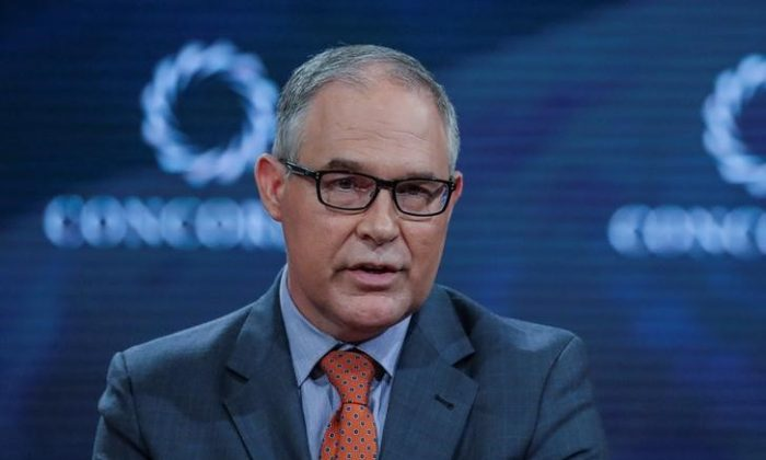 Scott Pruitt, Administrator of the U.S. Environmental Protection Agency, answers a question during the Concordia Summit in Manhattan, New York, U.S., Sept. 19, 2017. (Reuters/Jeenah Moon)