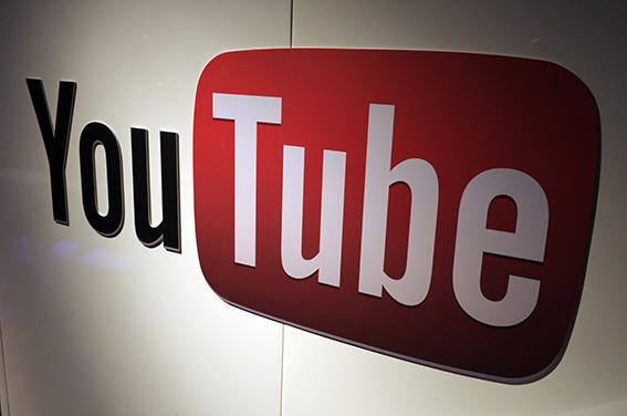 A picture shows a YouTube logo on December 4, 2012 during LeWeb Paris 2012 in Saint-Denis near Paris. (Eric Piermont/AFP/Getty Images)