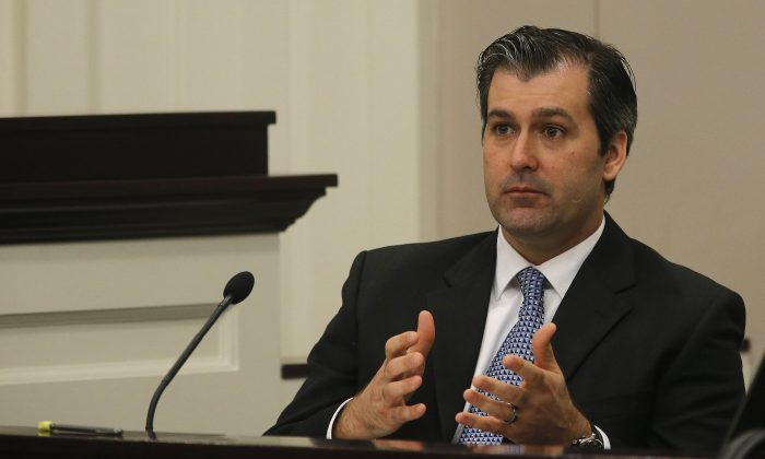 Former North Charleston police officer Michael Slager testifies during his murder trial at the Charleston County court in Charleston, South Carolina on Nov. 29, 2016. (Grace Beahm/Getty Images)