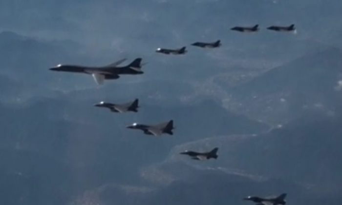 US B-1B bomber flies over Korean peninsula during military drills on Dec. 06, 2017. (South Korea Air Force via Reuters TV)