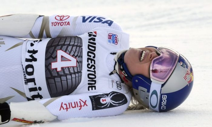 Lindsey Vonn of USA reacts during the Audi FIS Alpine Ski World Cup Women's Super G in St Moritz, Switzerland, on Dec. 9, 2017. (Alain Grosclaude/Agence Zoom/Getty Images)