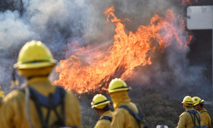 Fire fighters attack the Thomas Fire's north flank with backfires as they continue to fight a massive wildfire north of Los Angeles, near Ojai , California, U.S., December 9, 2017.  (Reuters/Gene Blevins)