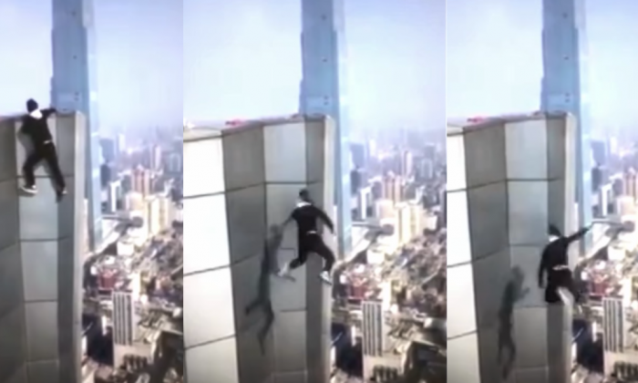 A video-blogging 'rooftopper' unwittingly filmed his own death in the Chinese city of Changsha, as he plunged from the roof of a 62-storey skyscraper on Nov. 8. (Screenshot from YouTube)
