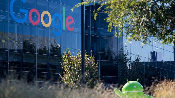 A Google logo and Android statue are seen at the Googleplex in Menlo Park, California on November 4, 2016. (Josh Edelson/AFP/Getty Images)