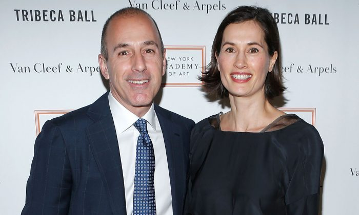 Matt Lauer and wife Annette Roque at the 2013 Tribeca Ball at New York Academy of Art in New York City on April 8, 2013. (Jemal Countess/Getty Images)