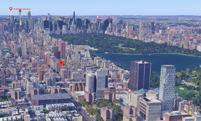 The approximate location where Dr. Dean Lorich was found dead in his apartment in Manhattan, New York, on Dec. 10, 2017. (Screenshot via Google Maps)