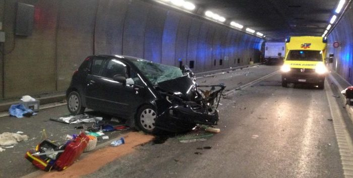 A passenger car is pictured after an accident in the Gotthard tunnel in this picture released by the Kantonspolizei Uri in Goeschenen, Switzerland Dec. 13, 2017. Kantonspolizei Uri/Handout via REUTERS
