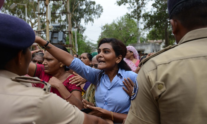 Indian Dalit protestors at Dholka town, some 40 kms from Ahmedabad on July 21, 2016. Dalits and supporters participated in a protest rally against an earlier attack on Dalit caste members by hard-line Hindus. (Sam Panthaky/AFP/Getty Images)