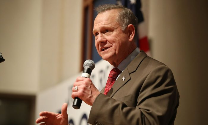 Republican Senatorial candidate Roy Moore during election night in Montgomery, Alabama on Dec. 12, 2017. (Joe Raedle/Getty Images)