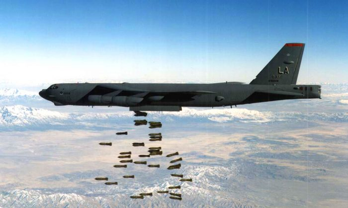 A U.S. Air Force B-52 Stratofortress heavy bomber drops bombs in this undated file photo.  (U.S. Air Force/Getty Images)