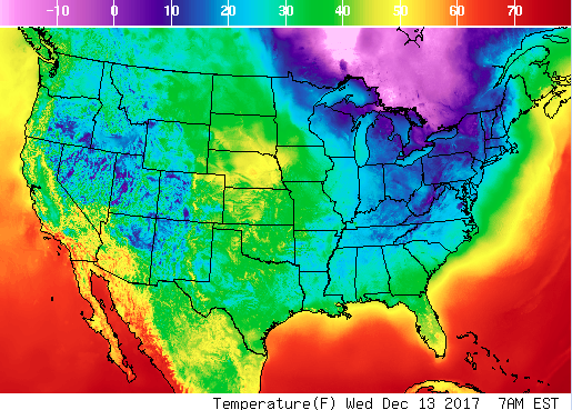 Real-time mesoscale analysis. Temperature forecast for Wednesday, Dec. 13, 7 p.m. for the United States. (Screenshot via National Weather Forecast)