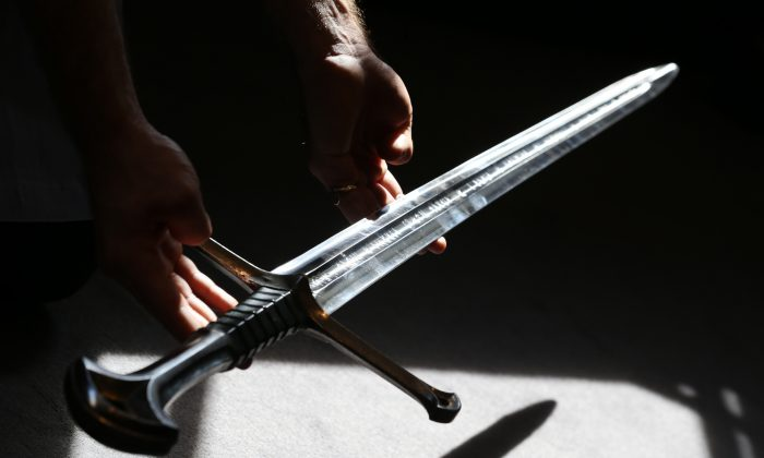 A sword is seen in this file photo. A 13-year-old boy has died after being impaled by a sword in China, on Dec. 12, 2017. (Peter Macdiarmid/Getty Images)