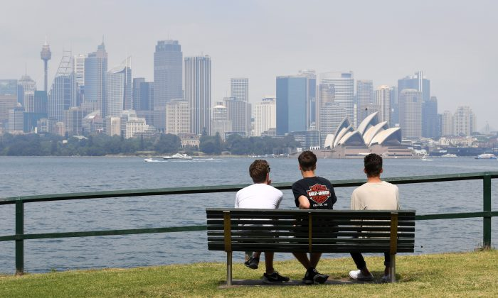 People view Sydney's skyline on October 21, 2016. (William West/AFP/Getty Images)