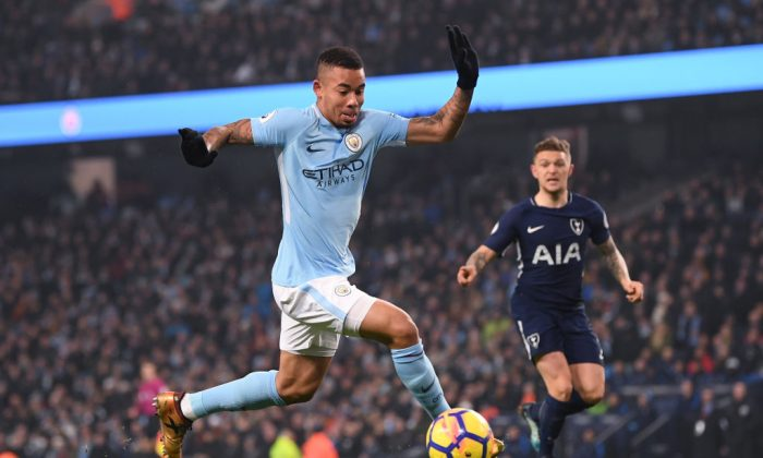 Gabriel Jesus of Manchester City runs with the ball during the Premier League match between Manchester City and Tottenham Hotspur at Etihad Stadium on Dec 16, 2017 in Manchester, England. (Laurence Griffiths/Getty Images)