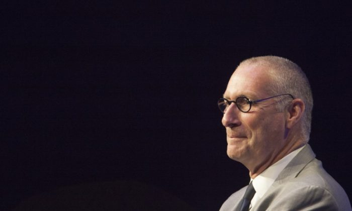 John Skipper, President of ESPN INC and co-chairman of Disney Media Networks, addresses the media in Digital Center 2 in Bristol, Connecticut May 22, 2014.  (Reuters/Michelle McLoughlin)