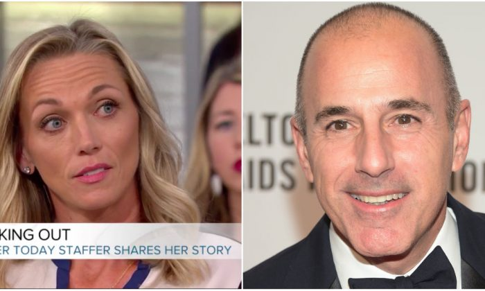 """Addie Zinone (R) on NBC's """"Megan Kelly Today"""" on Dec. 18, 2017 and former """"Today"""" show host Matt Lauer on Oct. 28, 2014. (Screenshot via Today.com (L), Michael Loccisano/Getty Images)"""