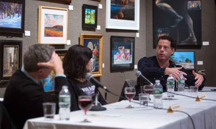 "(L–R) Artists Alex Kanevsky, Alyssa Monks, and Jacob Collins participate in the first panel discussion of the ""FAA Dialogues"" series,  launched by The Florence Academy of Art - U.S. branch, at the Salmagundi Club in New York on Nov. 30, 2017. (Benjamin Chasteen/The Epoch Times)"
