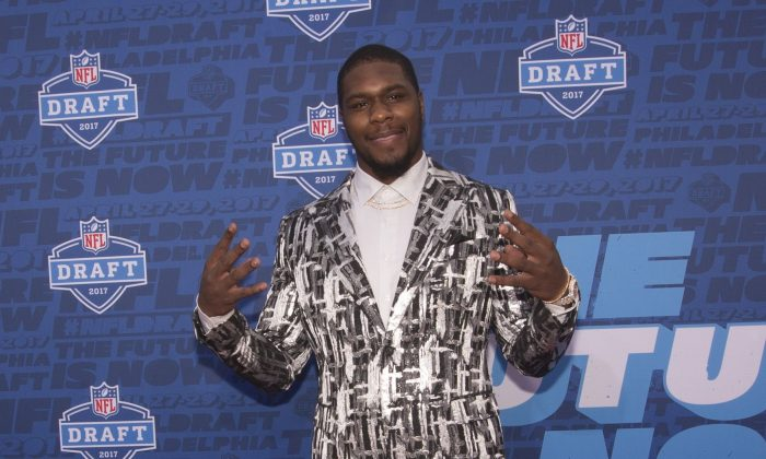 Malik McDowell of Michigan State poses for a picture on the red carpet prior to the start of the 2017 NFL Draft in Philadelphia, Pennsylvania on April 27, 2017. (Photo by Mitchell Leff/Getty Images)