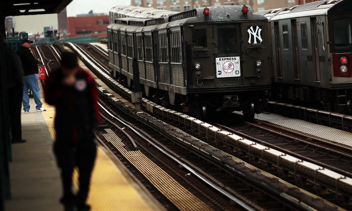 A historical subway train is used for the 2014 home opener game at Yankee stadium in New York City on April 7, 2014. (Photo by Spencer Platt/Getty Images)