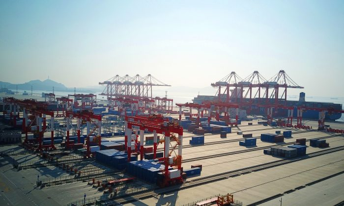 The Yangshan Port, an automated cargo wharf south of Shanghai, on Dec. 6, 2017. (AFP/Getty Images)
