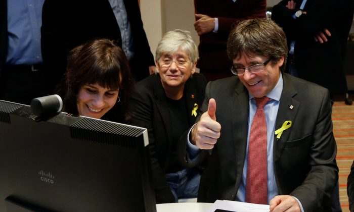 Carles Puigdemont, the dismissed President of Catalonia, reacts while viewing the results in Catalonia's regional election in Brussels, Belgium, Dec. 21, 2017. (Reuters/Francois Lenoir)