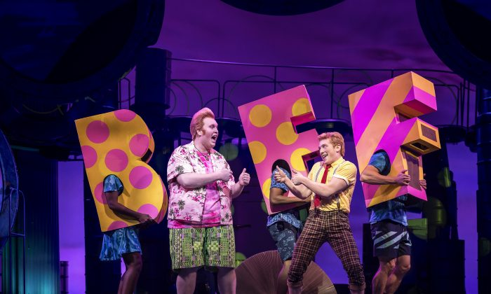 "(L–R) Patrick Star (Danny Skinner) is the BFF of SpongeBob SquarePants (Ethan Slater) in the musical ""SpongeBob SquarePants,"" based on the popular Nickelodeon television series. (Joan Marcus)"