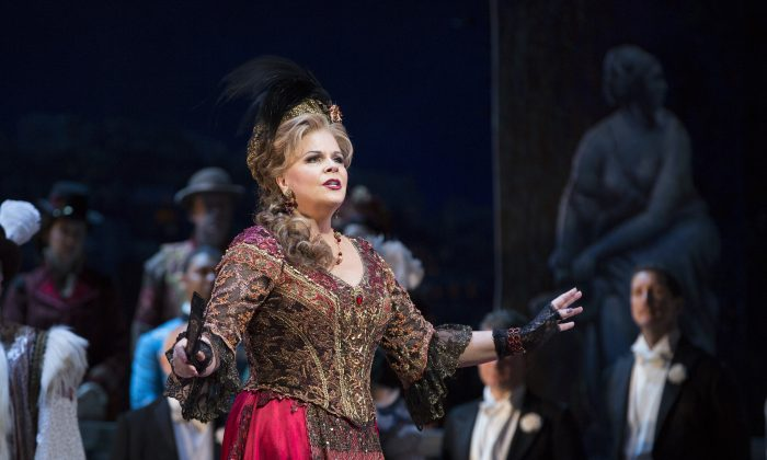 "Susan Graham is a charming Hanna Glawari, looking to reunite with an old love, in ""The Merry Widow."" (Marty Sohl/The Metropolitan Opera)"