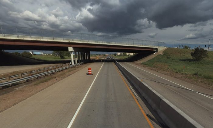 The accident scene on Interstate 70 and Tower Road in Aurora. (Screenshot via Bing Map)