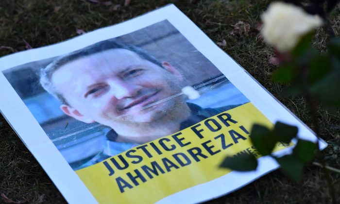 A photo taken on Feb. 13, 2017 shows a flyer during a protest outside the Iranian embassy in Brussels for Ahmadreza Djalali, an Iranian academic detained in Tehran for nearly a year and reportedly sentenced to death for espionage. Djalali is an Iranian researcher working for the CRIMEDIM Disaster and Emergency Medicine program. He was arrested on April 25, 2016 when in the Iranian capital for a conference, according to Italian media. (DIRK WAEM/AFP/Getty Images)