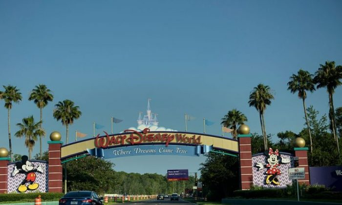 The entrance to the Walt Disney World theme park in Orlando, Florida on June 15, 2016. (Brendan Smialowski/AFP/Getty Images)