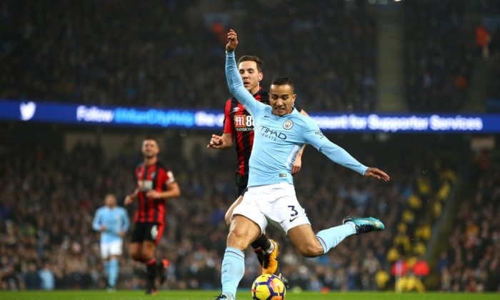 Danilo of Manchester City scores his side's fourth goal during the Premier League match between Manchester City and AFC Bournemouth at Etihad Stadium on December 23, 2017 in Manchester, England. (Clive Brunskill/Getty Images)