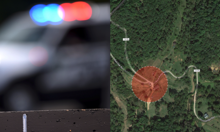 A man who had allegedly committed suicide shot two responding officers in Roane County, West Virginia, and was apprehended after an overnight standoff. (Screenshot via Google Maps / Stock photo of police lights CC0)
