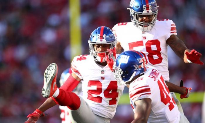Eli Apple #24 of the New York Giants reacts to a play against the San Francisco 49ers during their NFL game at Levi's Stadium in Santa Clara, California on Nov. 12, 2017. (Photo by Ezra Shaw/Getty Images)
