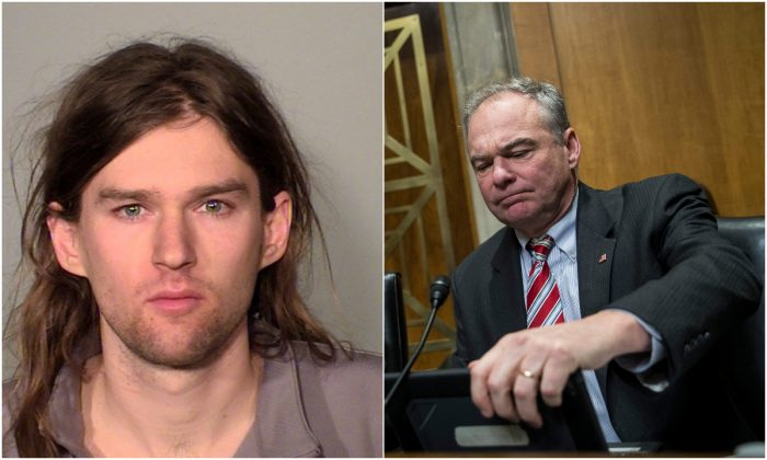 """L: Linwood Michael """"Woody"""" Kaine. (Ramsey County Sheriff's Office); R:  Sen. Tim Kaine (D-VA) during a Senate Foreign Relations Committee hearing concerning terrorism and radicalization in North Africa, on Capitol Hill in Washington, DC, Dec. 6, 2017. (Drew Angerer/Getty Images)"""