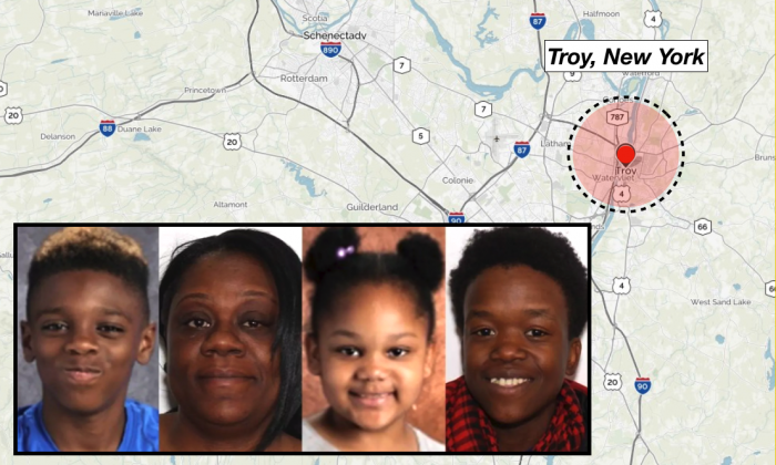 """(L-R) Jeremiah """"JJ"""" Myers, 11, Shanta Myers, 36, Shanise Myers, 5, Brandi Mells, 22. The victims of the quadruple homicide were found in a Troy apartment on Tuesday, Dec. 26. (Troy Police Department/Background image via MapQuest)"""