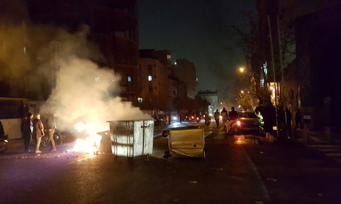 People protest in Tehran, Iran Dec. 30, 2017 in this picture obtained from social media. (Reuters)