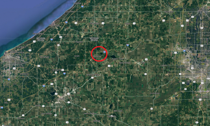 The approximate location of an 18-vehicle pileup on Indiana Toll Road on Dec. 31, 2017. (Screenshot via Google Maps)